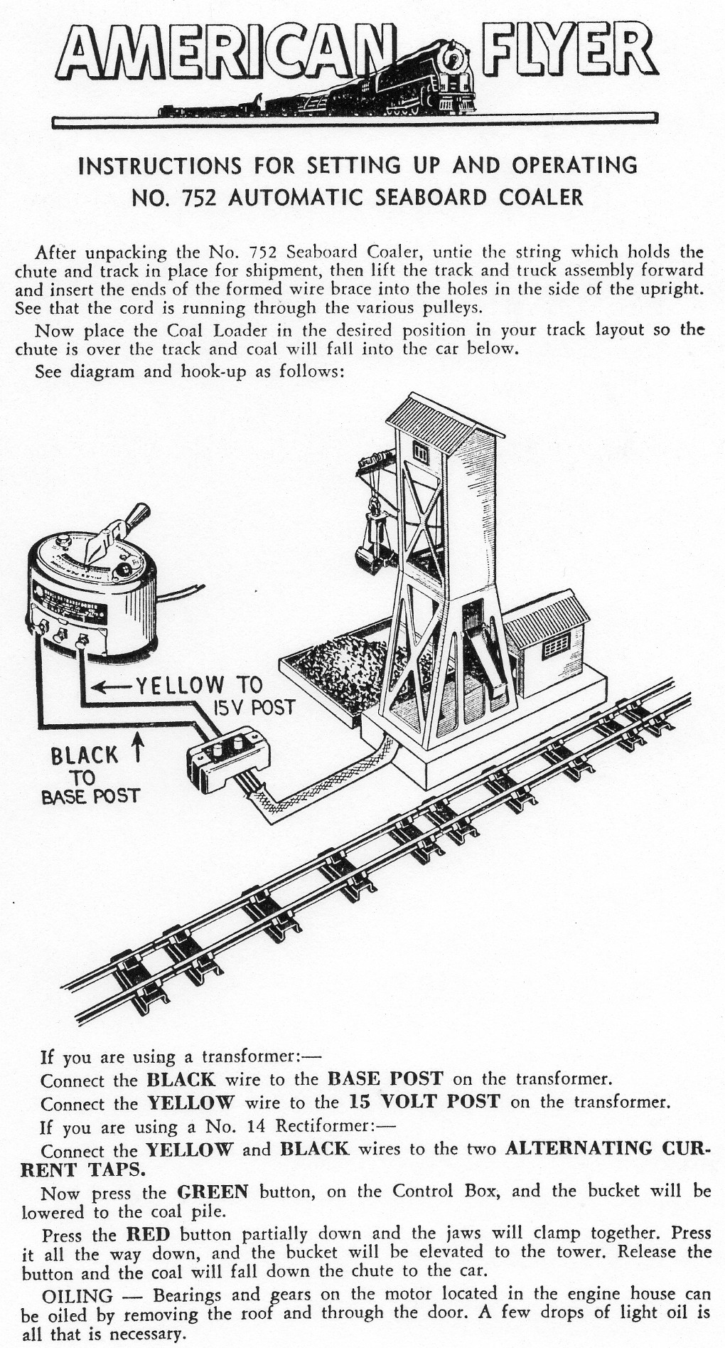 Instructions for Setting Up and Operating No. 752 Automatic Seaboard Coaler