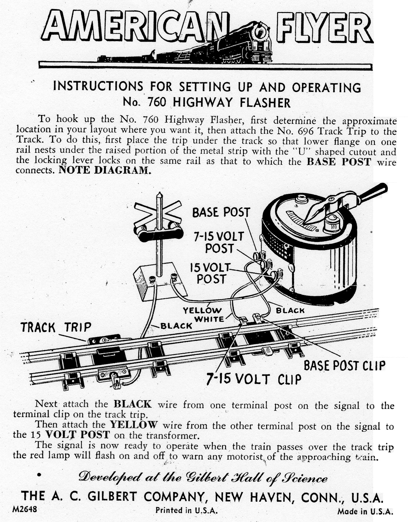 Instructions for Setting Up and Operating No. 760 Highway Flasher - Page 1