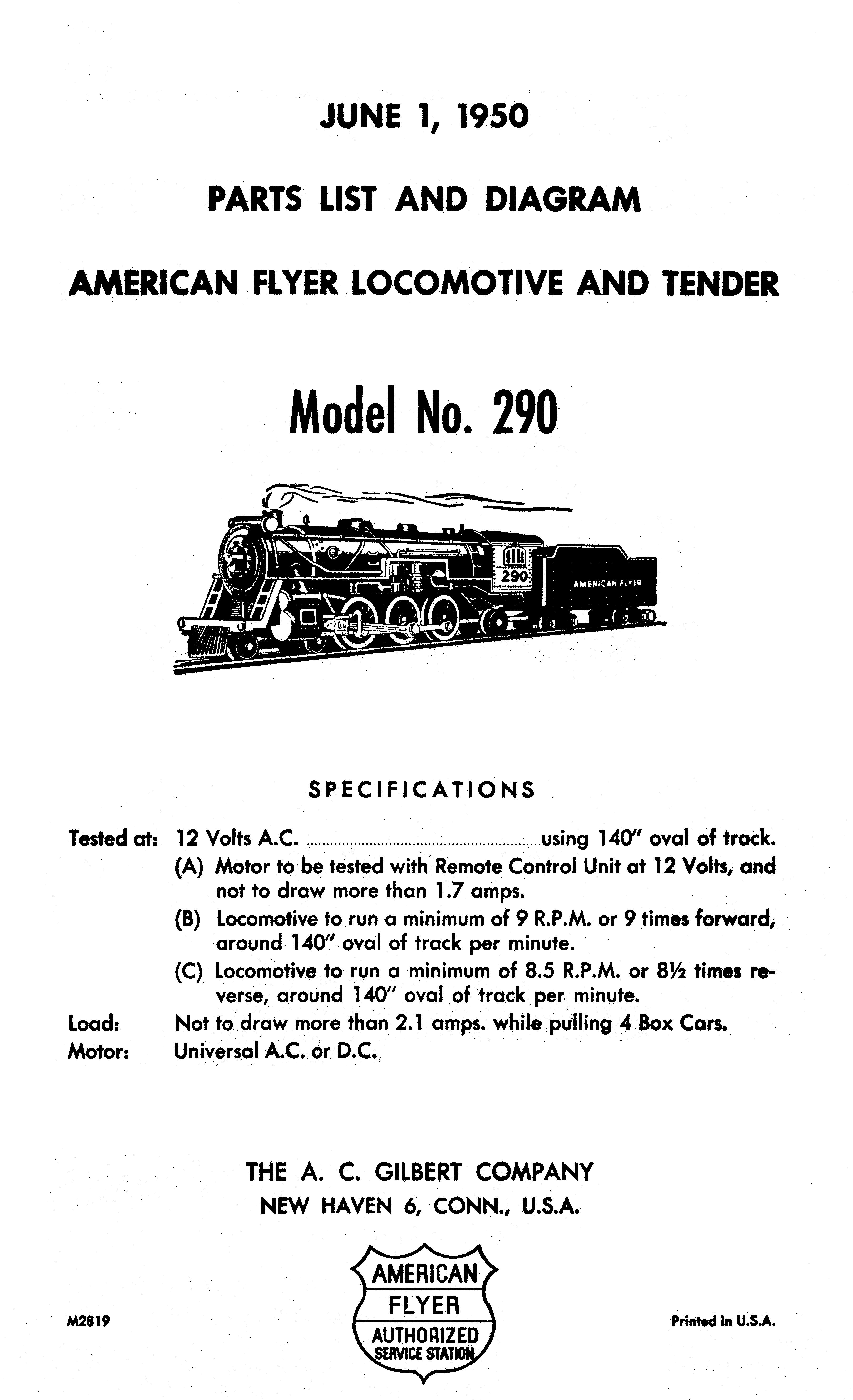 American Flyer Locomotive 290 Parts List and Diagram