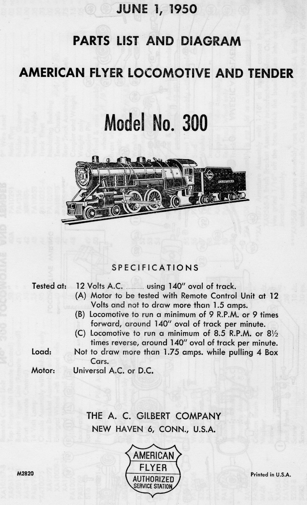 American Flyer Transformer 300 Parts List and Diagram - Page 1