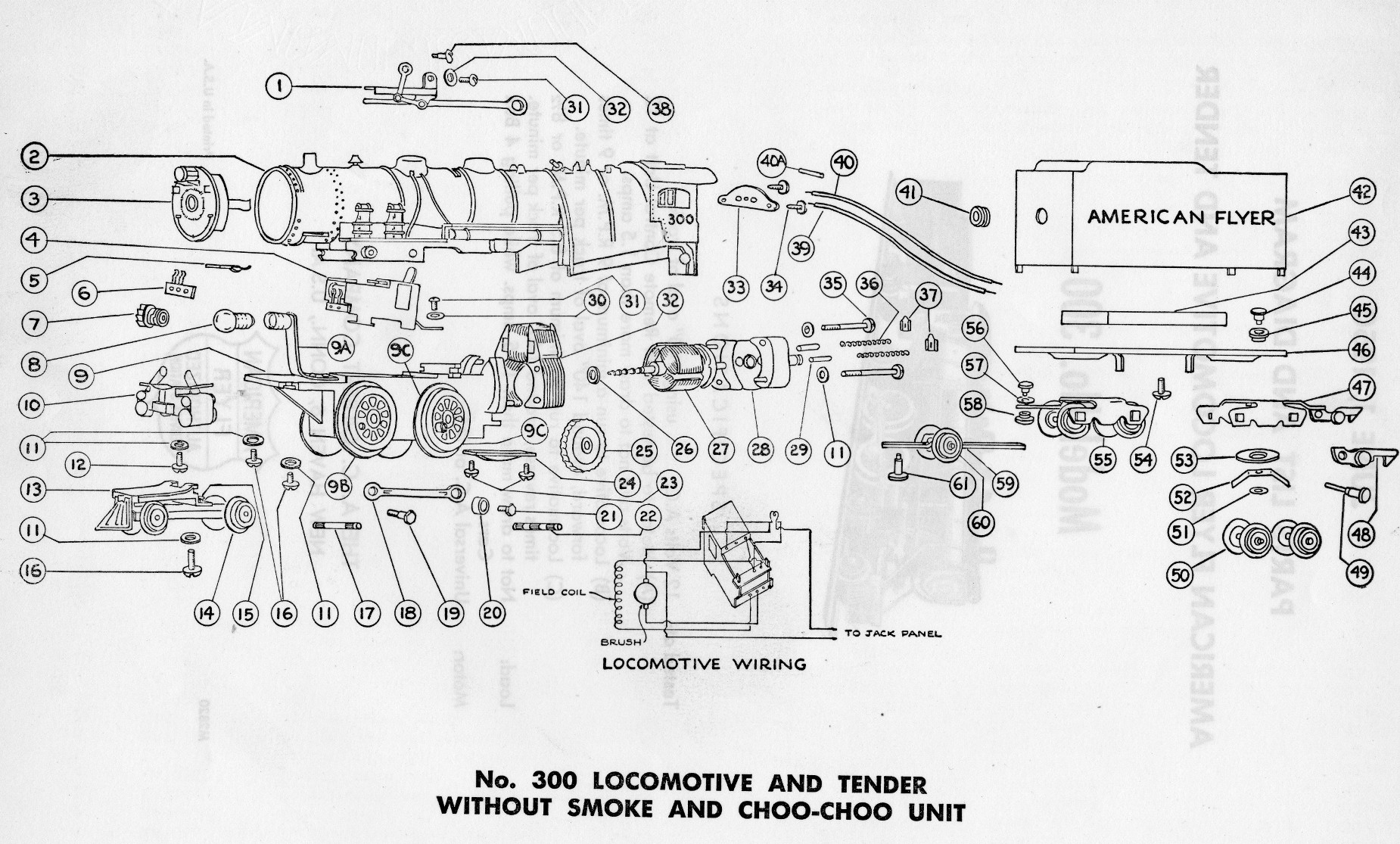 american flyer locomotive  parts list diagram traindr