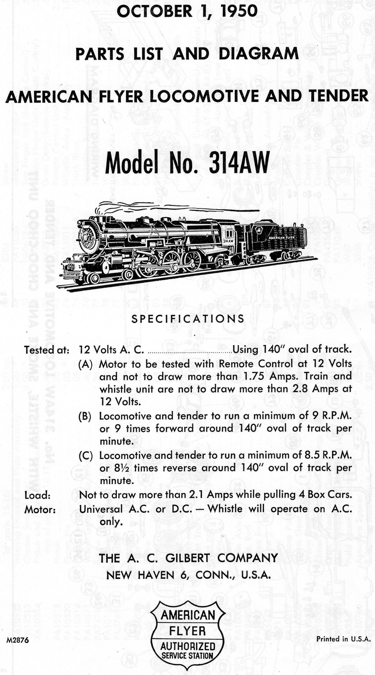 American Flyer Locomotive & Tender 314AW Parts List and Diagram - Page 1