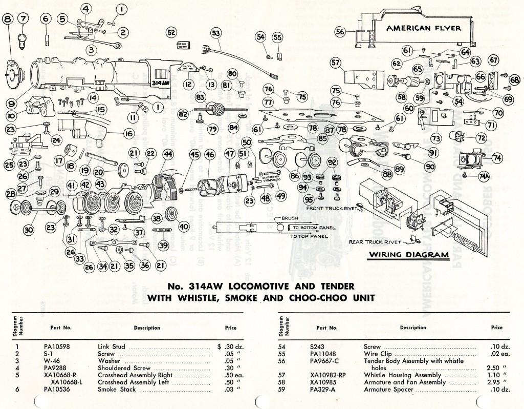 American Flyer Locomotive 314aw Parts List  U0026 Diagram