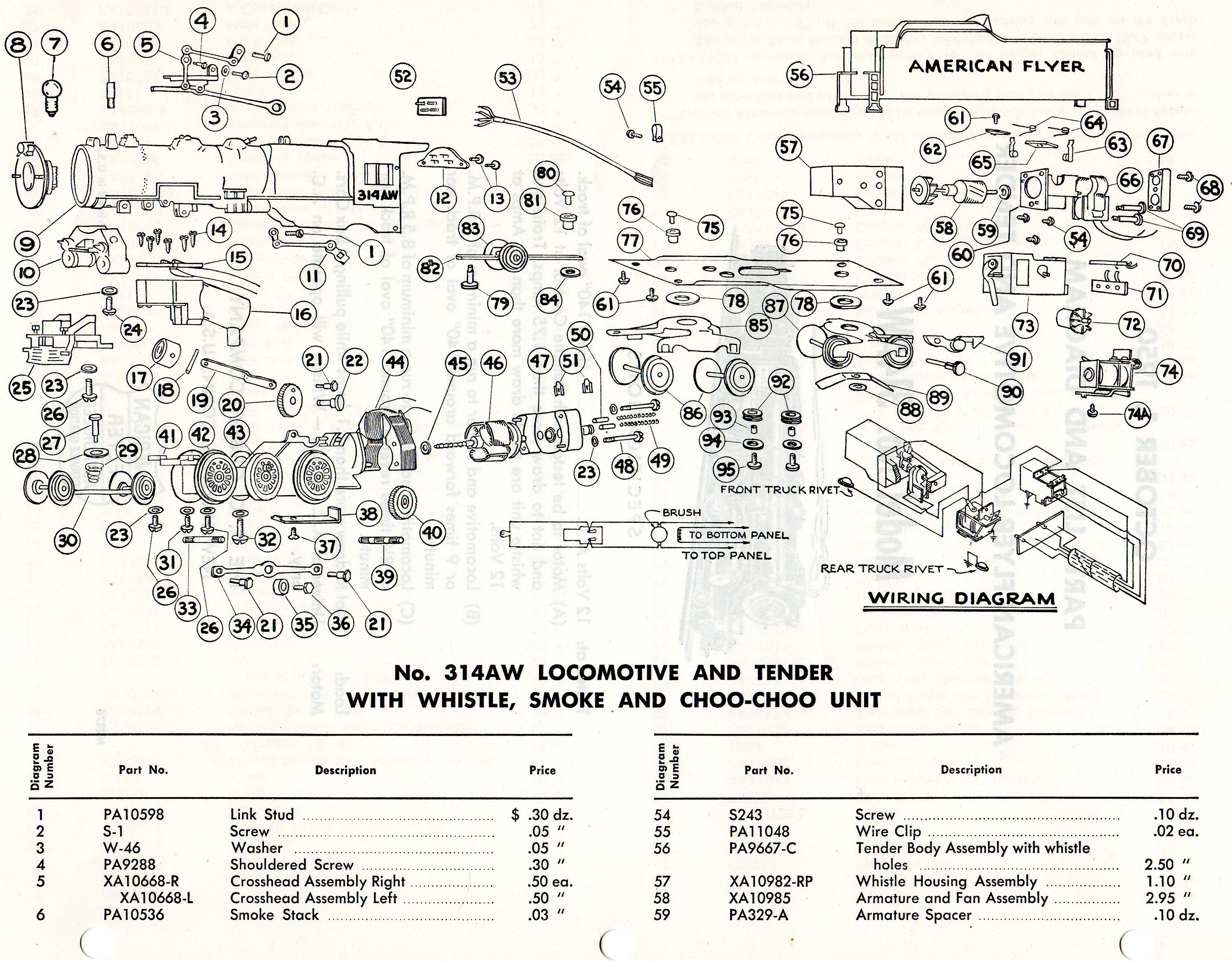American Flyer Locomotive 314AW Parts List Diagram – Locomotive Engine Diagram Simple