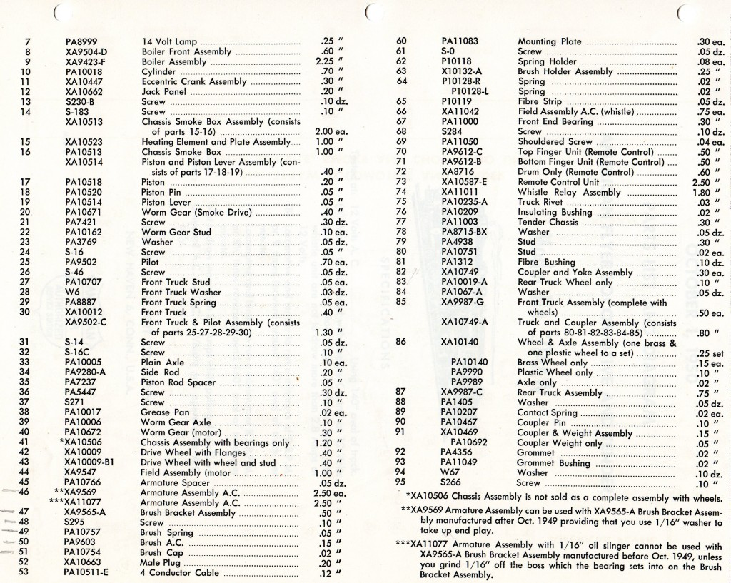american flyer locomotive 314aw parts list  u0026 diagram traindr