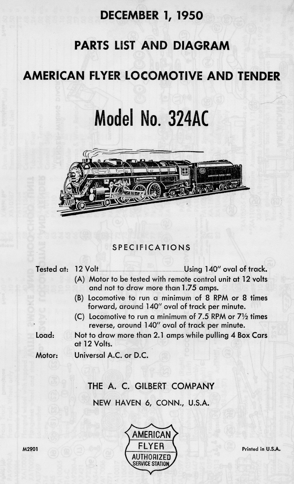 American Flyer Locomotive 324AC Parts List and Diagram - Page 1