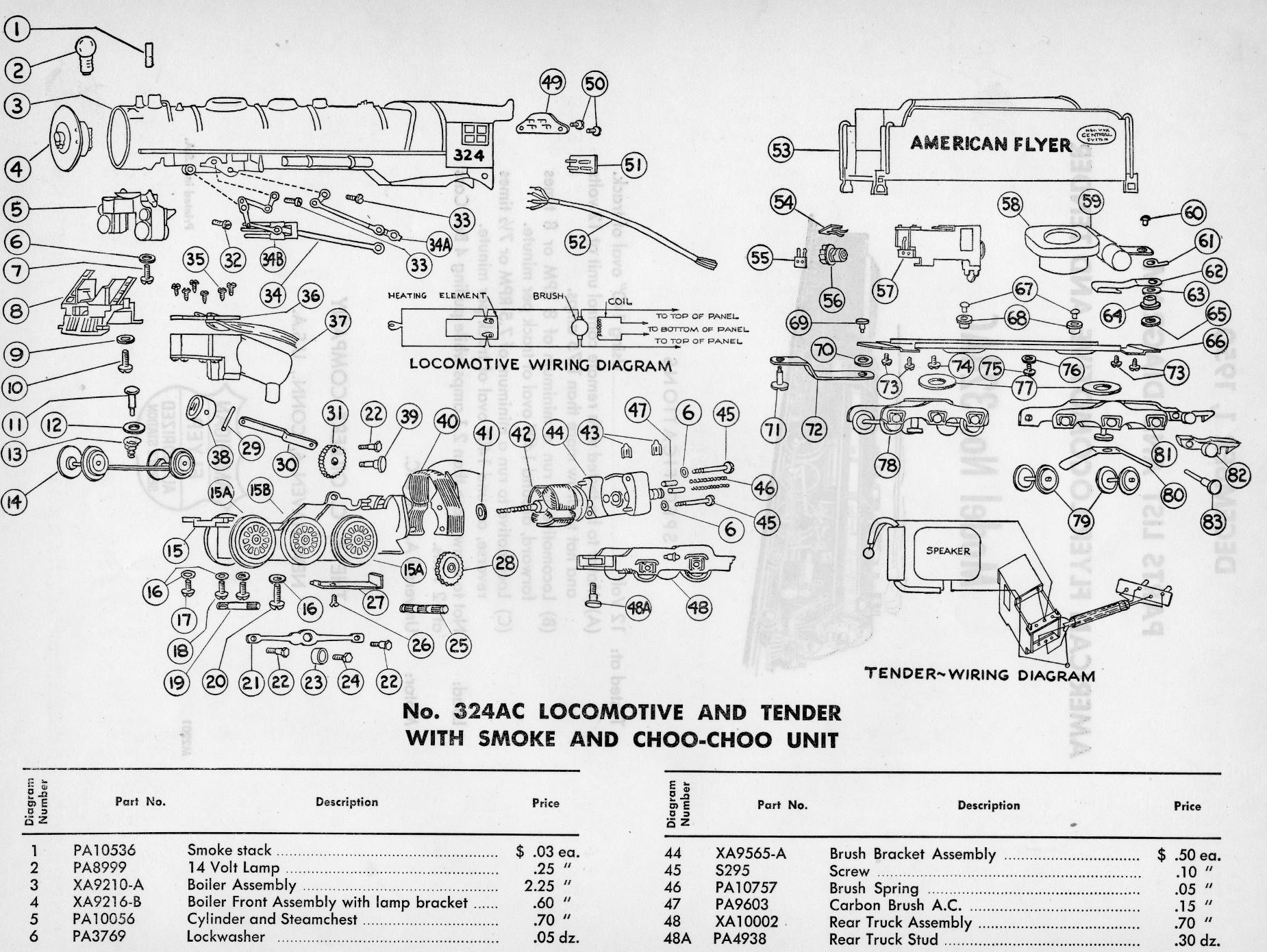 American Flyer Locomotive 324ac Parts List  U0026 Diagram