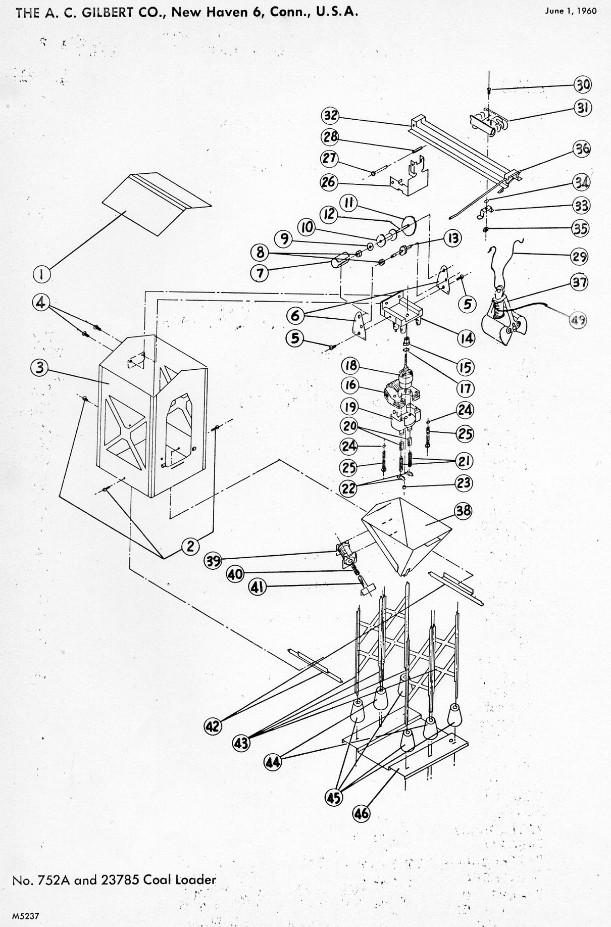 american flyer coal loader 752a  u0026 785 parts list  u0026 diagram